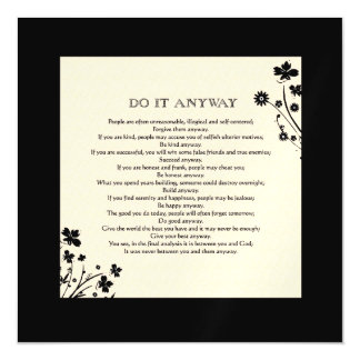 Floral Silhouette Do It Anyway Magnetic Card