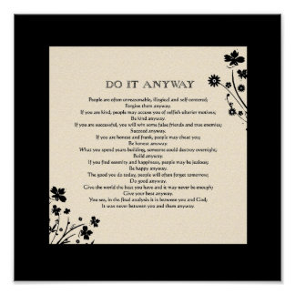 """Floral Silhouette """"Do It Anyway"""" Poster"""