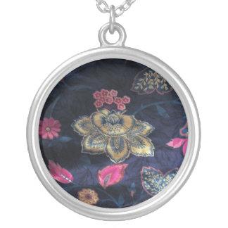 Floral Silk-Print Necklace