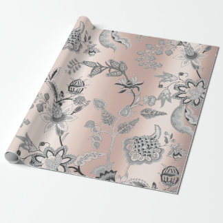Floral Silver Gray Pink Rose Pearly Blush Orichid Wrapping Paper