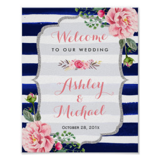 Floral Silver Navy Stripes Wedding Welcome Sign Poster