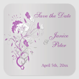 Floral silver purple, butterfly Save the Date Square Sticker