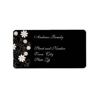 Floral simple negro y blanco de la etiqueta etiquetas de dirección