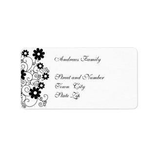 Floral simple negro y blanco de la etiqueta etiqueta de dirección