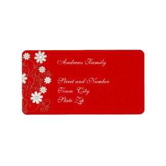 Floral simple rojo y blanco de la etiqueta etiquetas de dirección