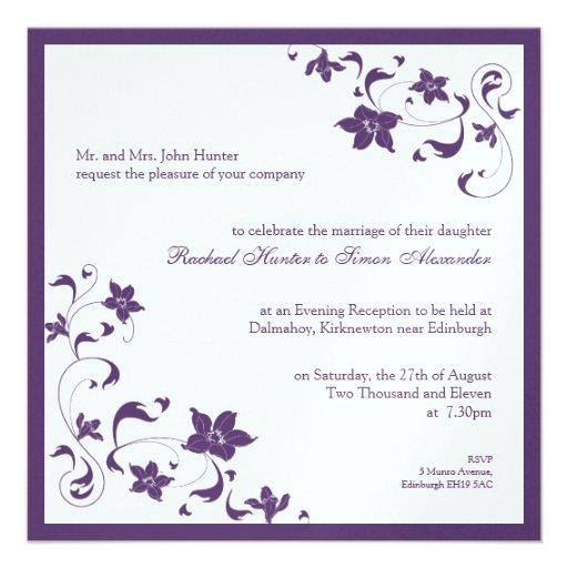 Floral simple wedding invitation purple 525quot square for Minimalist floral wedding invitations