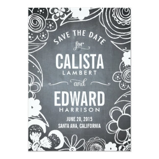 Floral Sketch Save The Date - Chalkboard Card