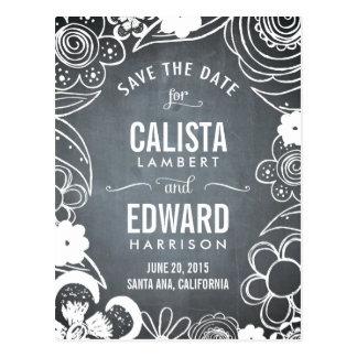 Floral Sketch Save The Date - Chalkboard Postcard