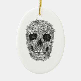Floral Skull Ceramic Ornament