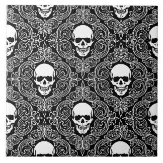 Floral Skull Ceramic Tile