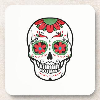 Floral Skull On White Pattern Coaster