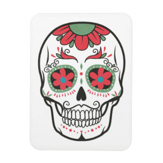 Floral Skull On White Pattern Magnet