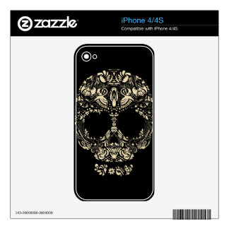 Floral skull pattern iPhone 4S decals