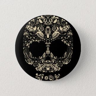 Floral skull pattern pinback button