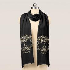 Floral skull pattern scarf