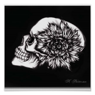 floral skull posters