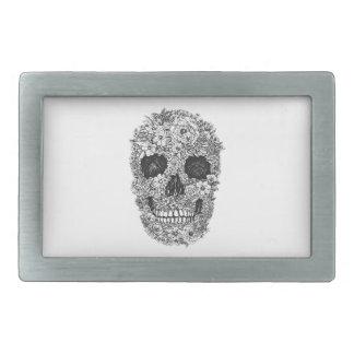 Floral Skull Rectangular Belt Buckle
