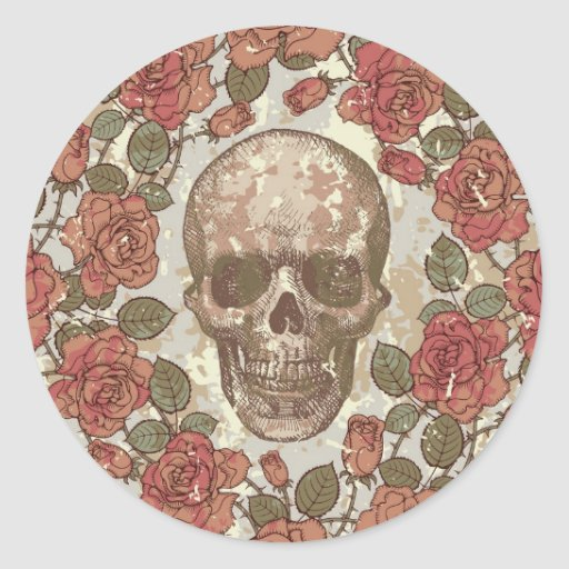 Floral Skull Round Stickers
