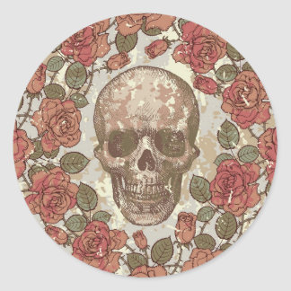 Floral Skull Round Stickers