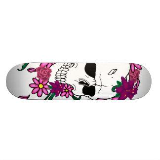 Floral Skull Tattoo Illustration Skateboard