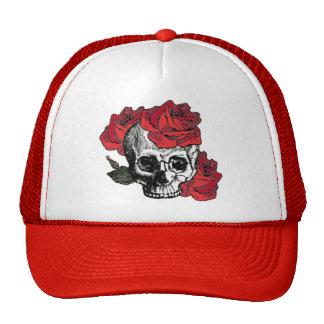 floral skull trucker hat