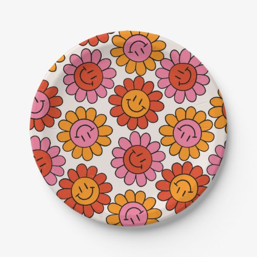 Floral Smile 70s Girly Vintage Pattern Hippie Paper Plate