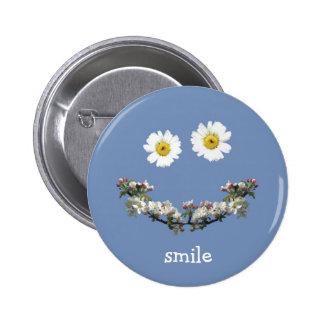 Floral Smile Pinback Button