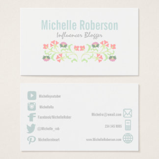 Floral social media icons business card