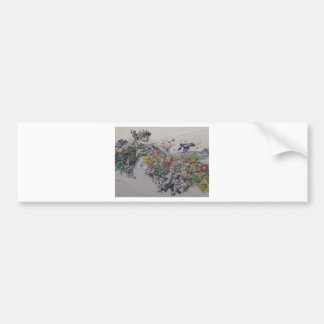 Floral Songbirds Car Bumper Sticker