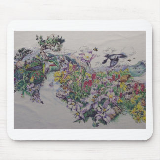 Floral Songbirds Mouse Pad
