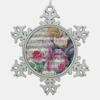 Floral Songs Snowflake Pewter Christmas Ornament