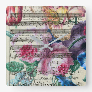 Floral Songs Square Wall Clock