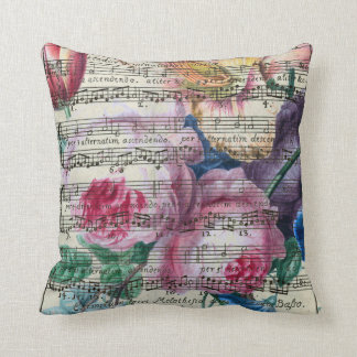 Floral Songs Throw Pillow