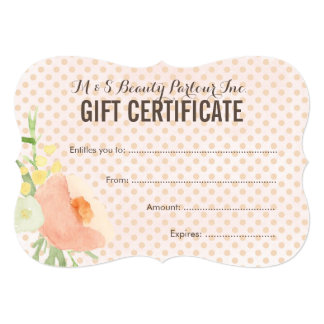 Floral Spa Beautician Gift Certificate Template Card