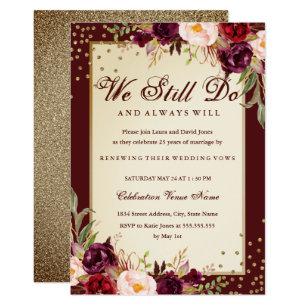 Floral Sparkle Burgundy Vow Renewal Anniversary Invitation