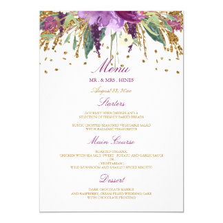 Floral Sparkling Amethyst Wedding Dinner Menu Card