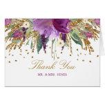 Floral Sparkling Amethyst Wedding Thank You Card