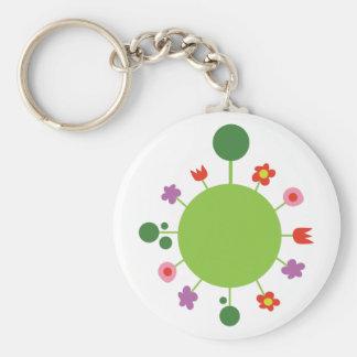 Floral Sphere Basic Round Button Keychain