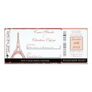 Floral Spiral  Boarding Pass Wedding Invitation