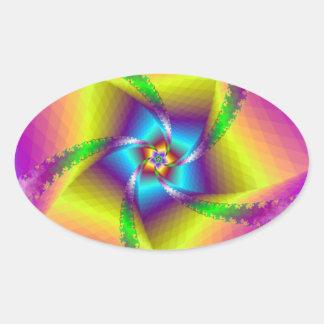 Floral Spiral Oval Sticker