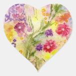 'Floral Splash' Heart Sticker