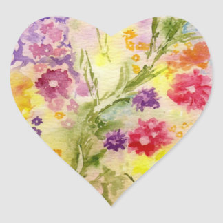 'Floral Splash' Heart Sticker
