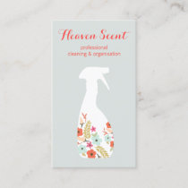 Floral Spray Bottle House Cleaning Business Business Card