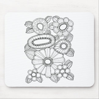 Floral Spray Five Line Art Design Mouse Pad
