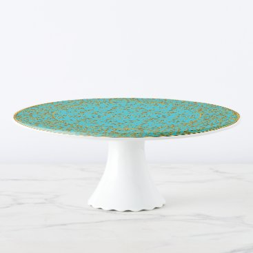 Aqua Floral Spray, Gold-Aqua-Style 6-Cake Stand