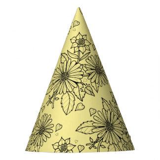 Floral Spray Line Art Design Party Hat