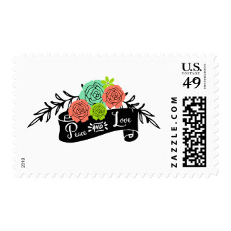 Floral Spray Peace and Love Holiday Postage