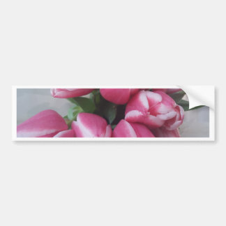 Floral Spring Bouquet of Pink Tulips, Flowers Bumper Sticker