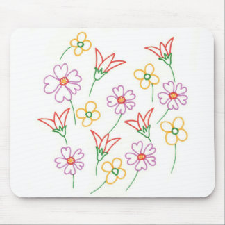 Floral Spring Flowers Drawing Collage Mousepads