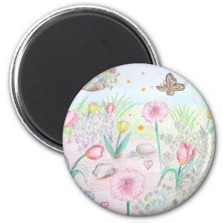 Floral Spring Garden Refrigerator Magnet